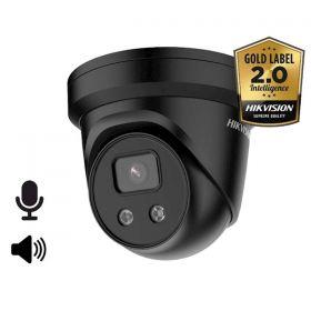 Hikvision Acusense 2.0 DS-2CD2346G2-ISU/SL Zwart 4MP 2.8mm Dome mircofoon en speaker 30m IR WDR Ultra Low Light