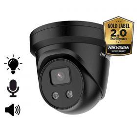 Hikvision Acusense 2.0 DS-2CD2386G2-ISU/SL Zwart 8MP 2.8mm Dome mircofoon en speaker strobe light 30m IR WDR