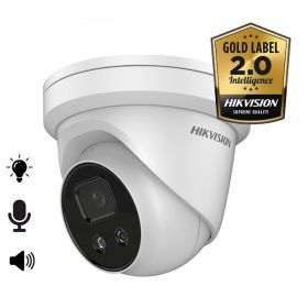 Hikvision Acusense 2.0 DS-2CD2386G2-ISU/SL 8MP 4mm Dome mircofoon en speaker strobe light 30m IR WDR