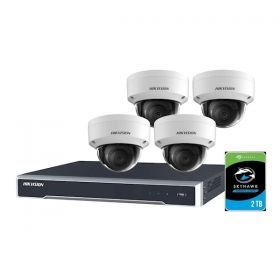 Hikvision Kit Camera's + NVR + HDD 8 kanaals recorder 4x dome 2 TB HDD
