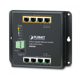 Planet WGS-804HP Gigabit Ethernet Switch 8 poorts 4PoE en 4PoE wandmontage